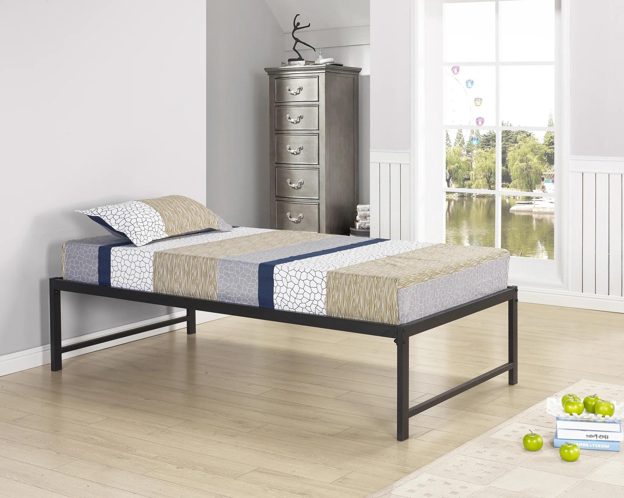Archer 17 H Platform Daybed Bed Frame With Roll Out Trundle Set Black Metal Twin Headboard Footboard Rails 13 Slats Pilaster Designs