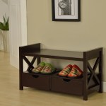 Tavia Shoe Storage Bench With Drawers Open Shelf Cherry Wood Contemporary Pilaster Designs
