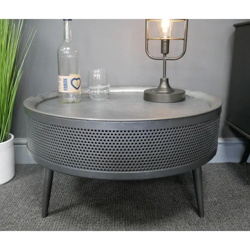 hoxton metal industrial retro metal round storage coffee table