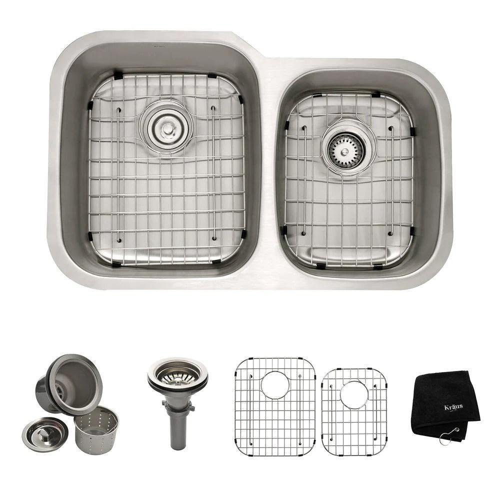 kraus kbu24 professional kraus 32 inch undermount 60 40 double bowl stainless steel kitchen sink