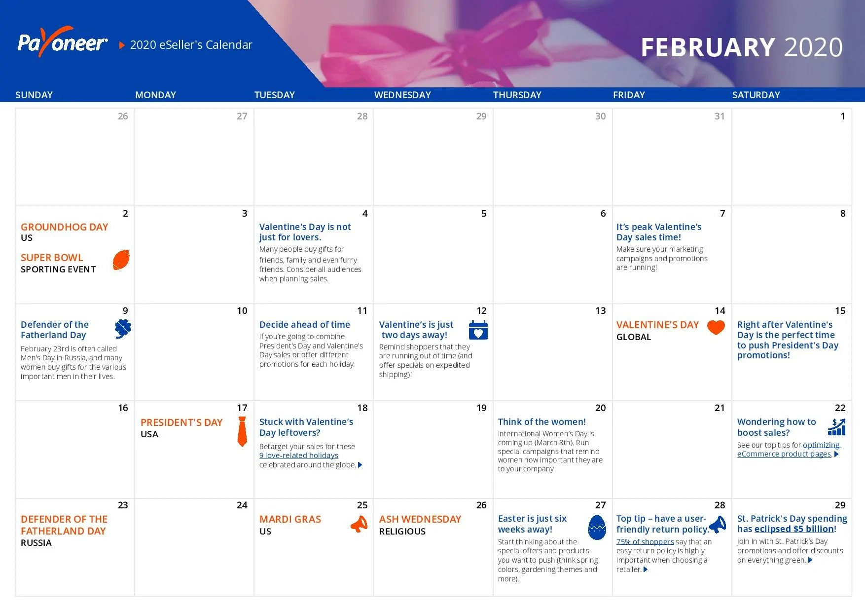 Shopify eCommerce Calendar - February