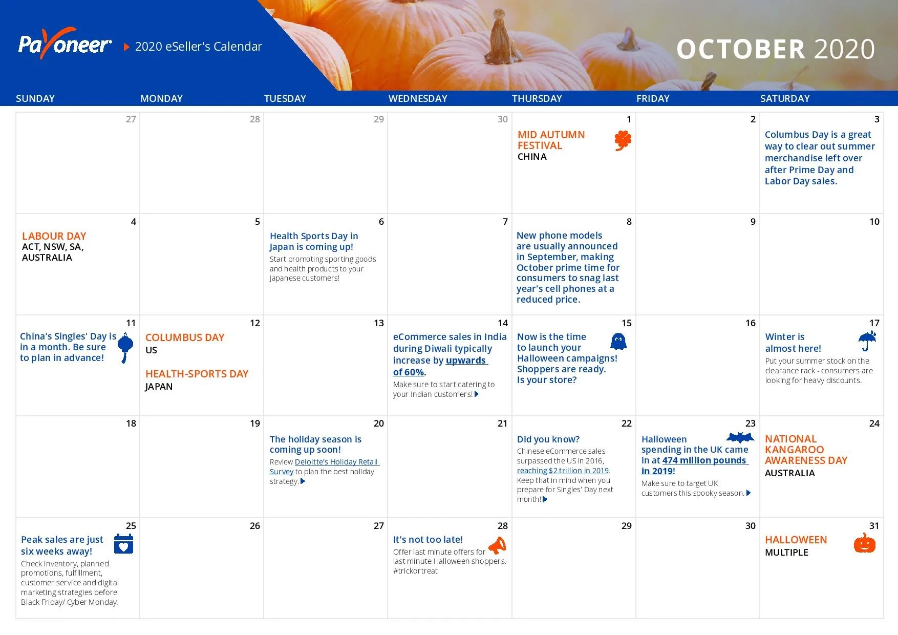 Shopify eCommerce Calendar - October