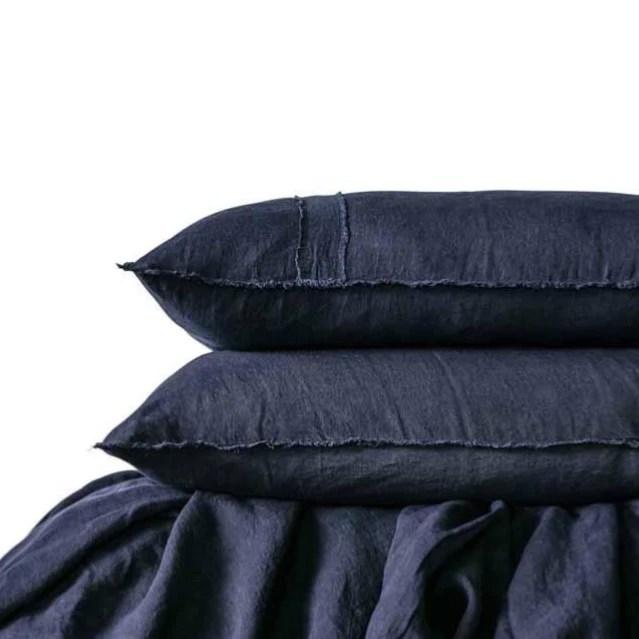 eadie lifestyle navy blue linen queen size quilt cover pillow cases set