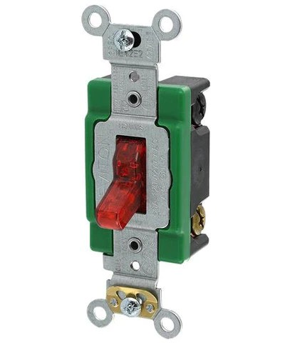 30 Amp, 120 Volt, Toggle Pilot Light, Illuminated ON, DoublePole AC Quiet – Leviton