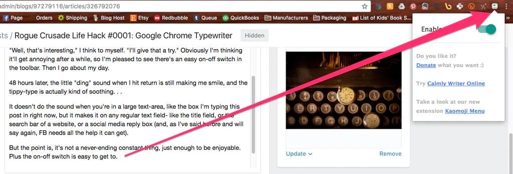Rogue Crusade Life Hack #0001: Google Chrome Typewriter