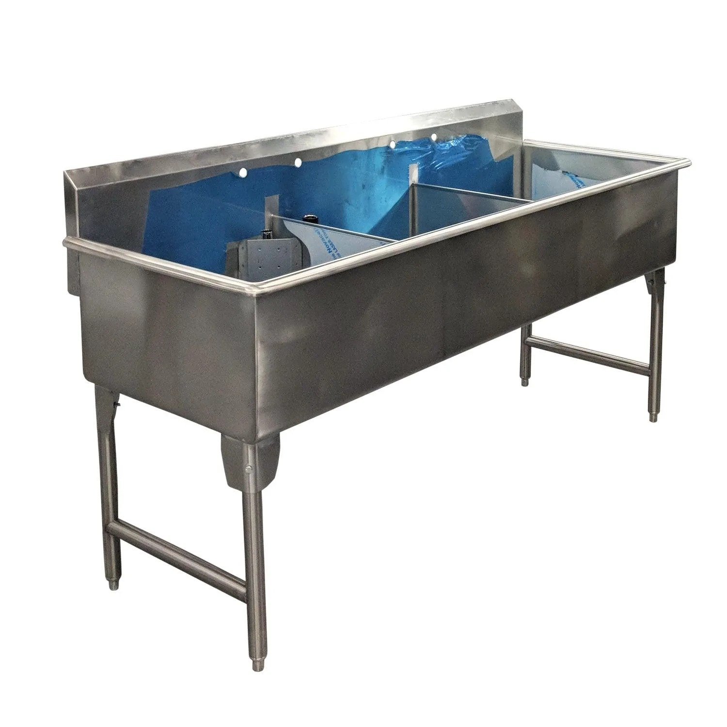 nella 24 x 48 x 13 5 heavy duty stainless steel three compartment sink t2448