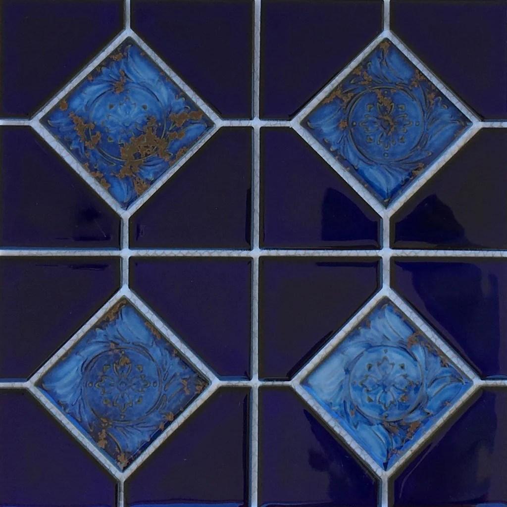 royal blue akron 6 x 6 deco porcelain pool tile