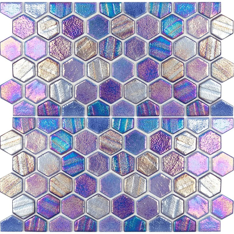 https www aquablumosaics com products blue waterline hex mosaic two 6 x 12 pieces glass tile
