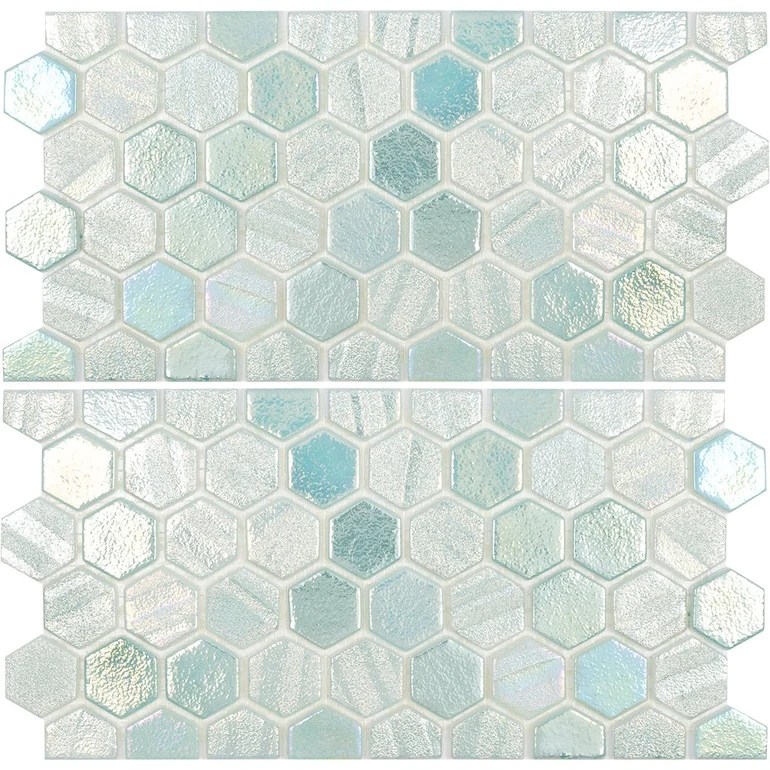 https www aquablumosaics com products green waterline hex mosaic two 6 x 12 pieces glass tile