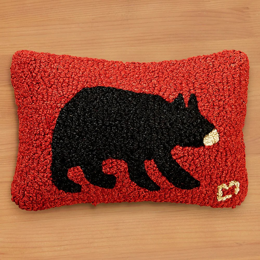 chandler 4 corners 8 x 12 hooked pillow black bear to the nines manitowish waters