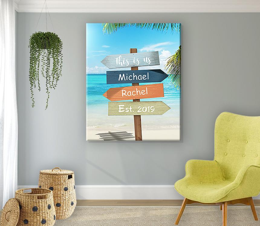 Tropical Beach Sign This Is Us Canvas Wall Art Personalized With Nam Muralmax Interiors