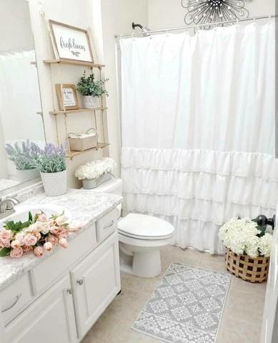 ella lace ruffle shower curtain lush