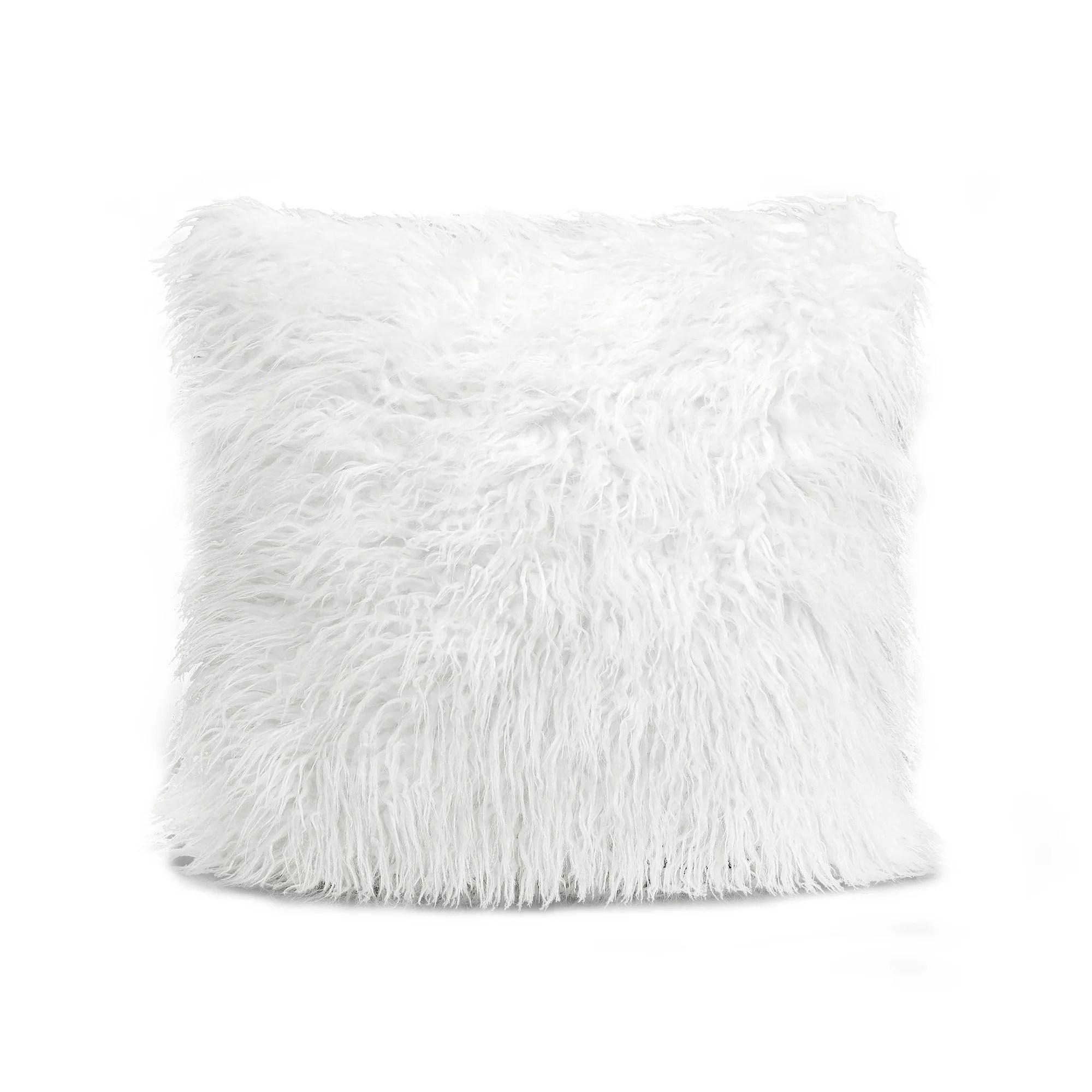luca faux fur decorative pillow 18 x18 white