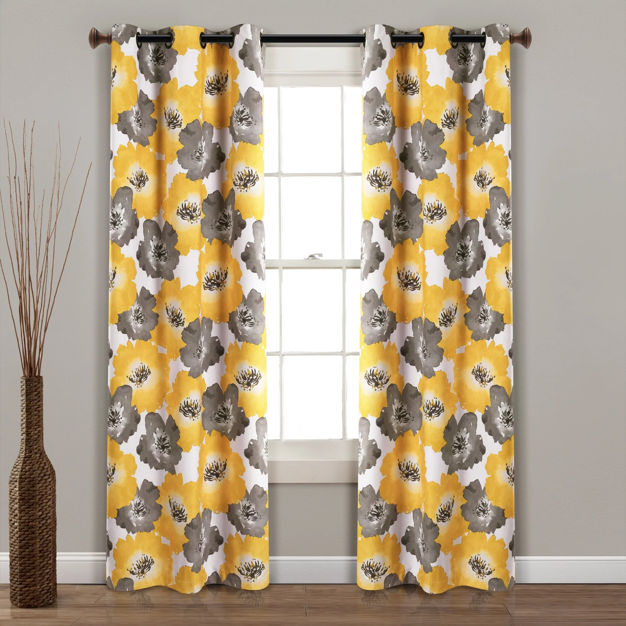 julie floral insulated grommet blackout window curtain panel set 84 x 38 yellow gray