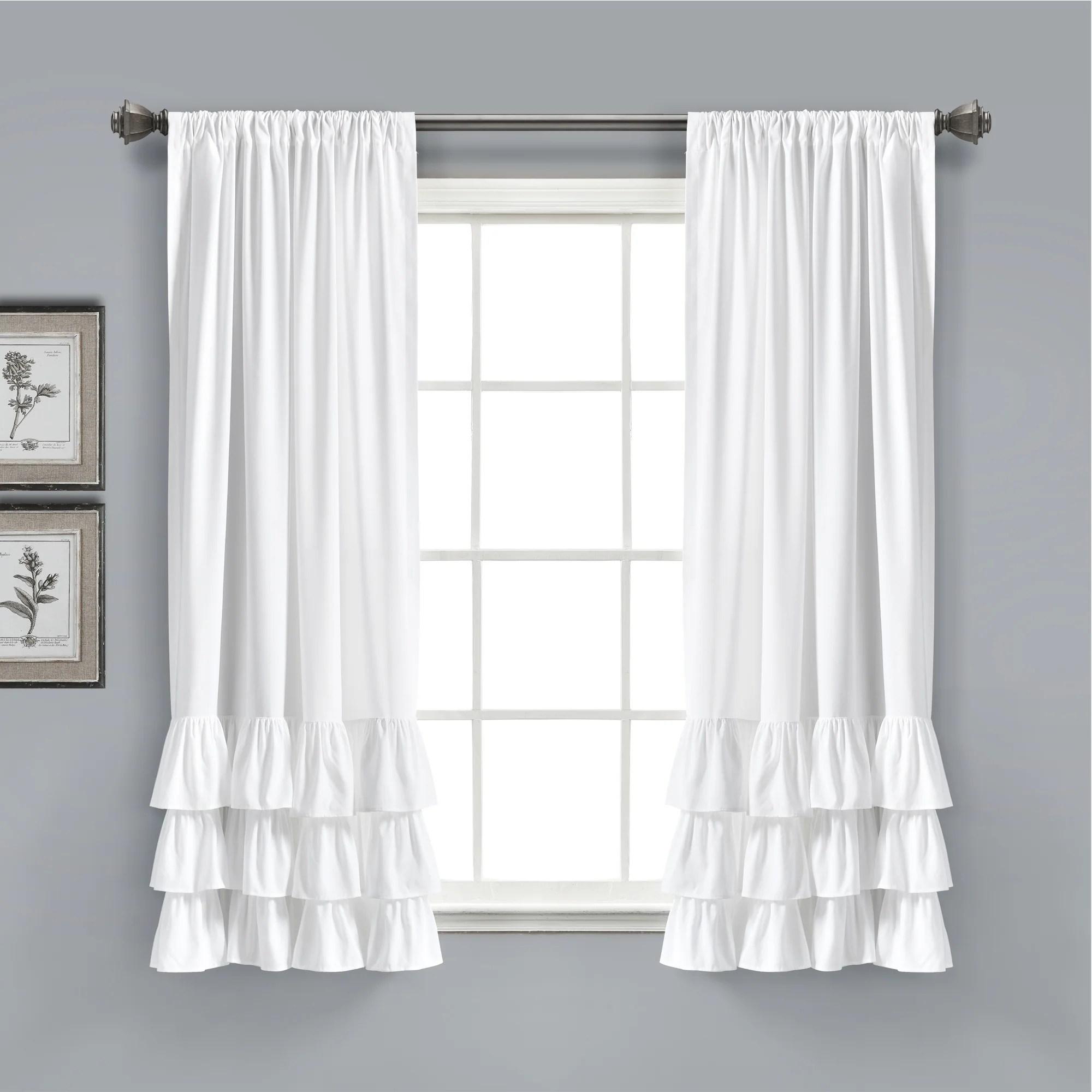 allison ruffle window curtain panel set 63 x 40 white