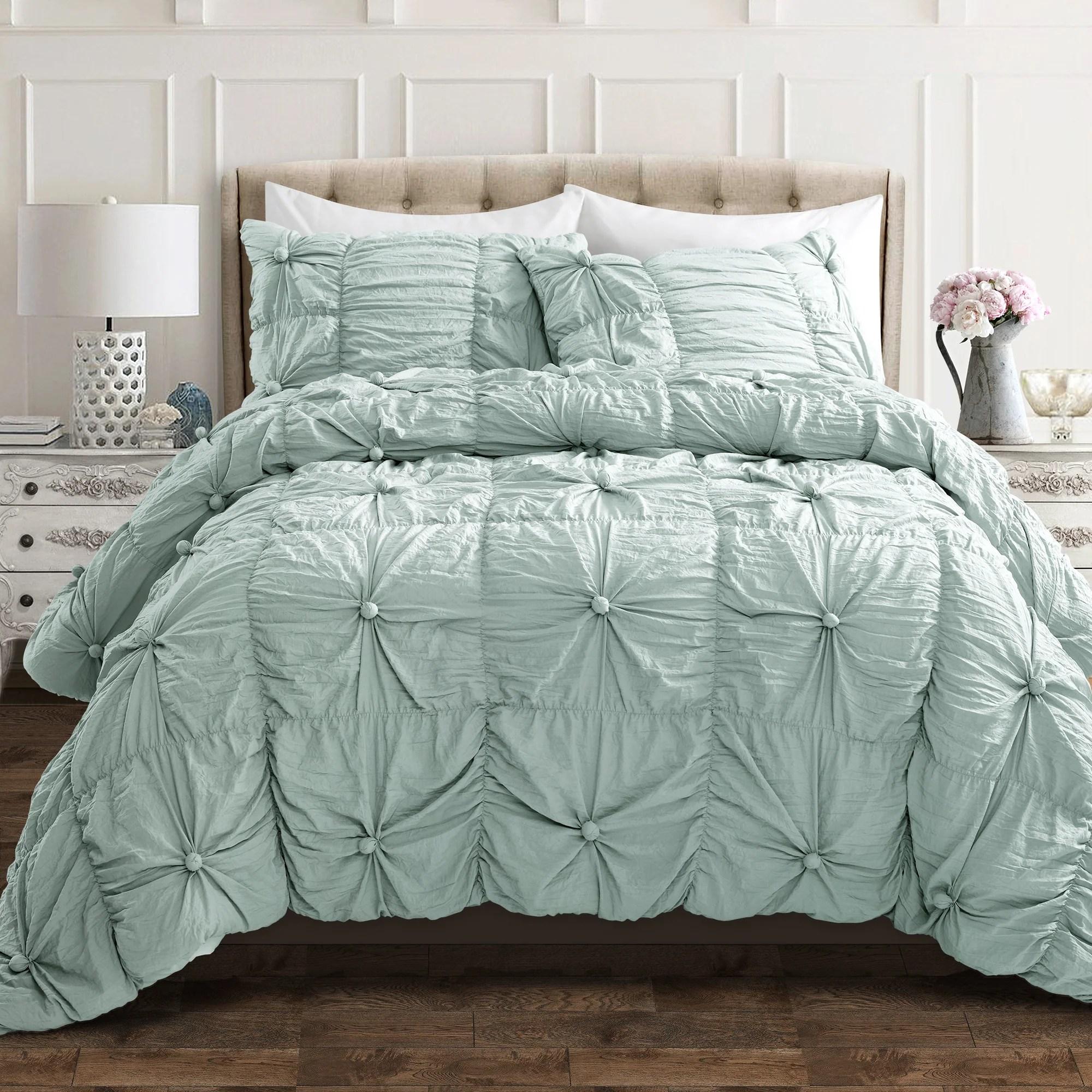 bella 3 piece shabby chic comforter set king blue
