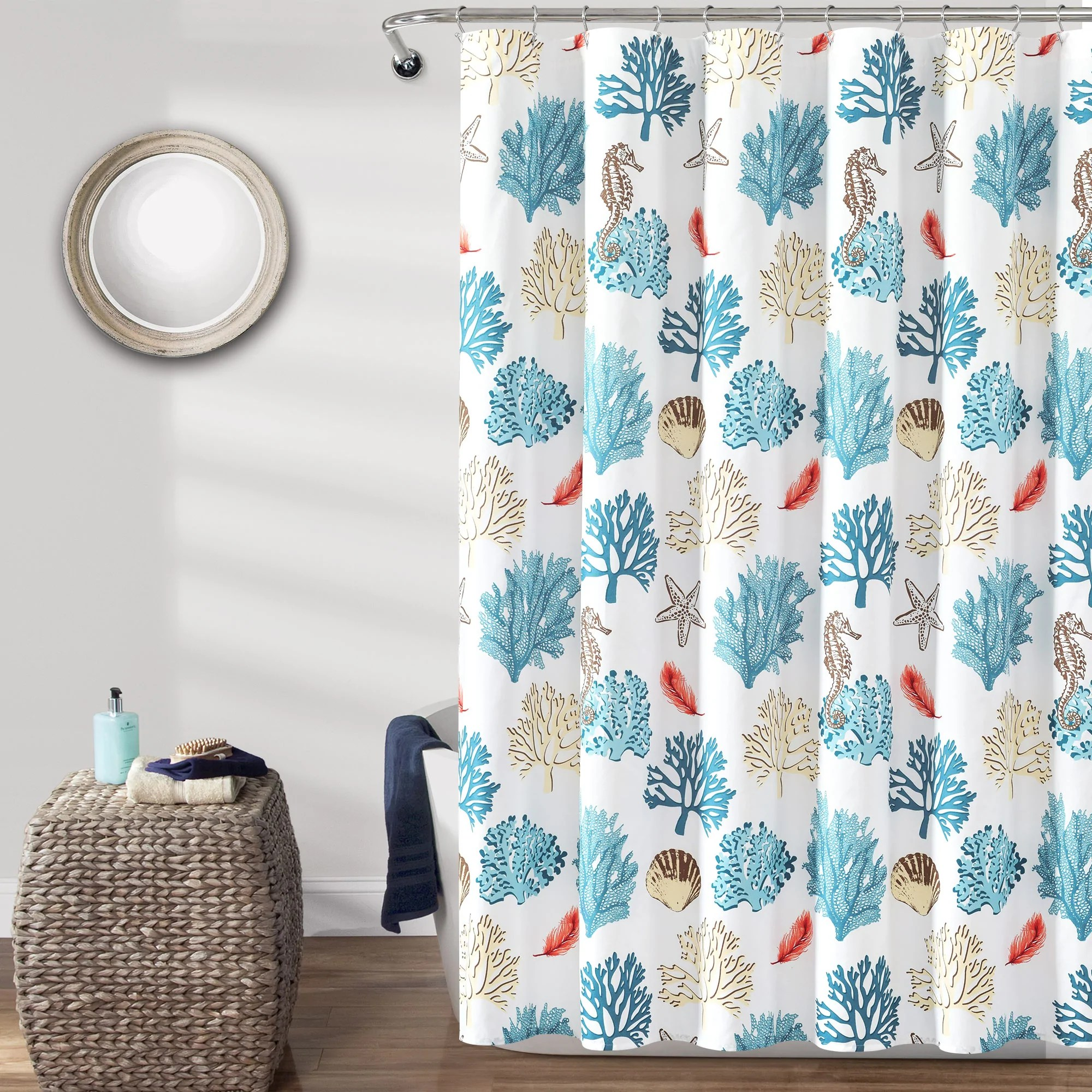 coastal reef feather shower curtain 72 x 72 blue coral