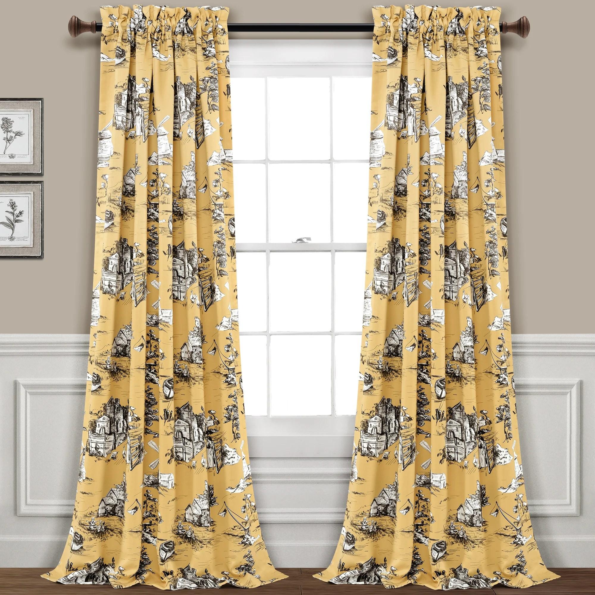 french country toile room darkening window curtain set 84 x 52 2 header yellow gray