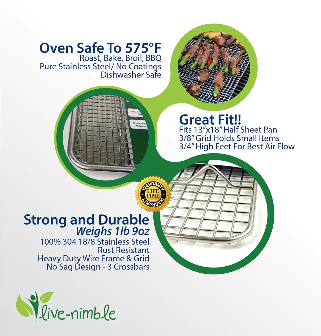live nimble premium 100 stainless steel cooling rack also cooks roasts grills to 575 f heavy duty wire grid cools cookies perfectly fits half