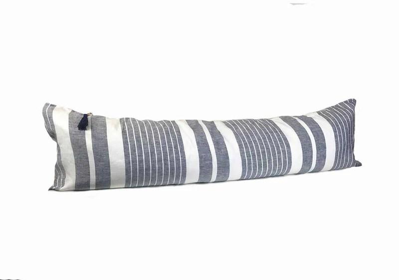 lumbar pillow in majorca vieja narrow midnight blue