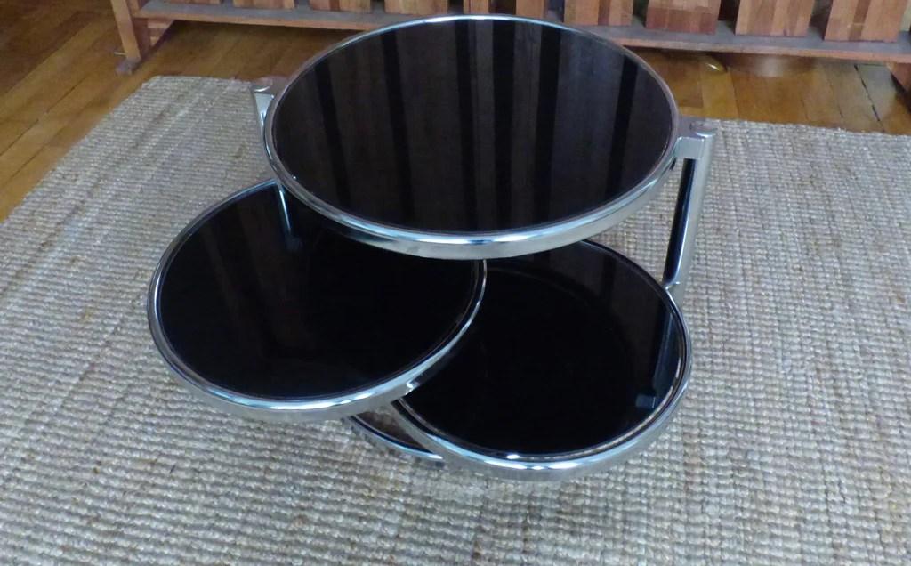 table basse a 3 plateaux pivotants