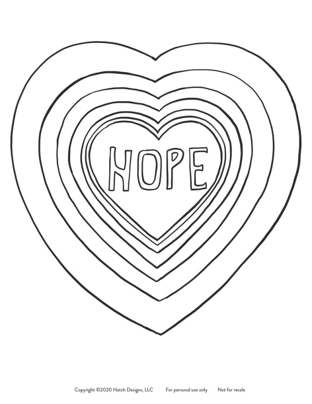 Coloring Page HOPE Instant Download  Molly Hatch