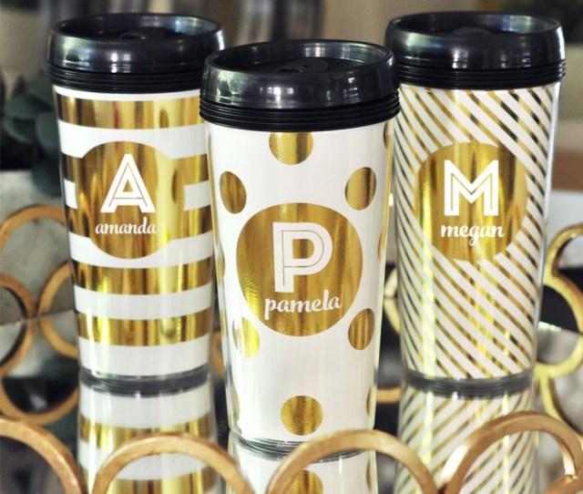 Monogram Name Metallic Foil Coffee Travel Mug
