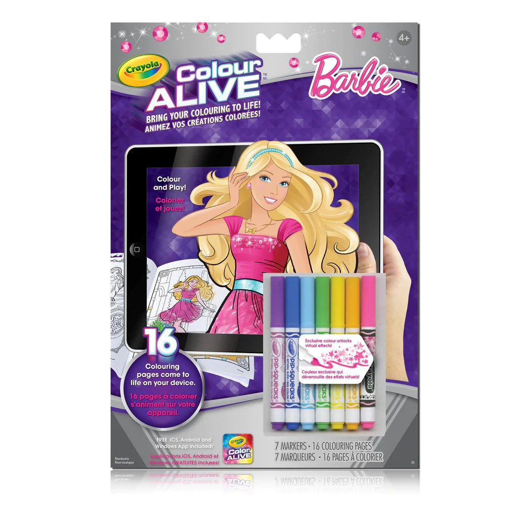 barbie color alive pages amazon com crayola color alive action