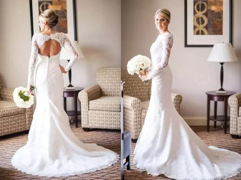 Gorgeous Lace Mermaid Vintage Wedding Dresses With Long