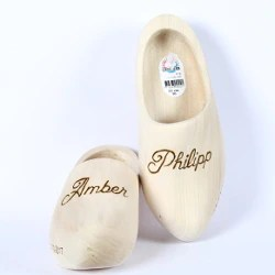 engraved wooden shoes