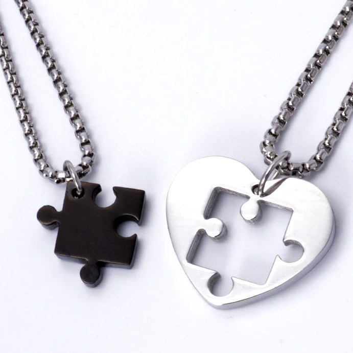 Jigsaw Puzzle Heart Pendant Couple Necklaces EverMarker