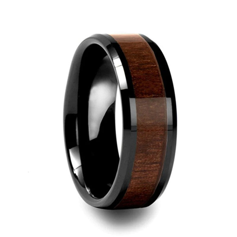 Personalized Mens Wood Inlay Tungsten Ring EverMarker