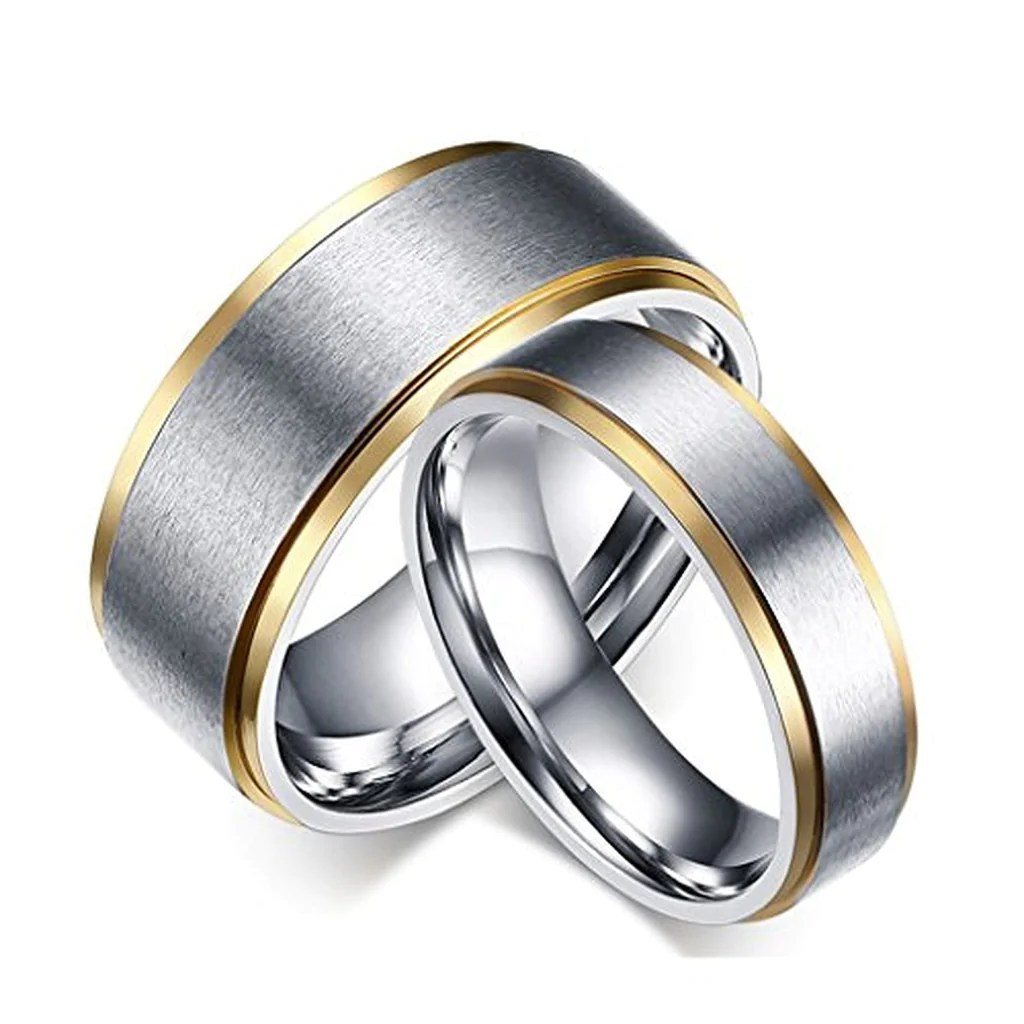 Titanium Stainless Steel Couple Wedding Rings EverMarker