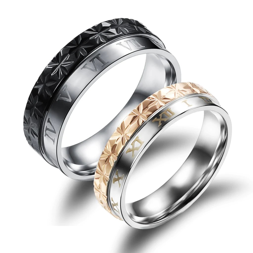 New Roman Numerals Couple Rings EverMarker