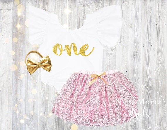 Baby Girls First Birthday Outfit 1st Birthday Onesie Pink And Gold Fir Nylamariekids