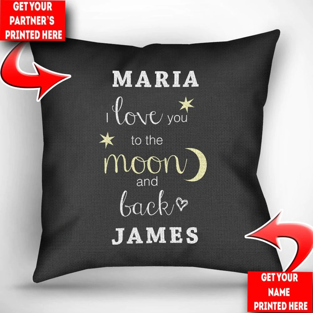 personalized i love you to the moon and back throw pillow cover 18 x 18