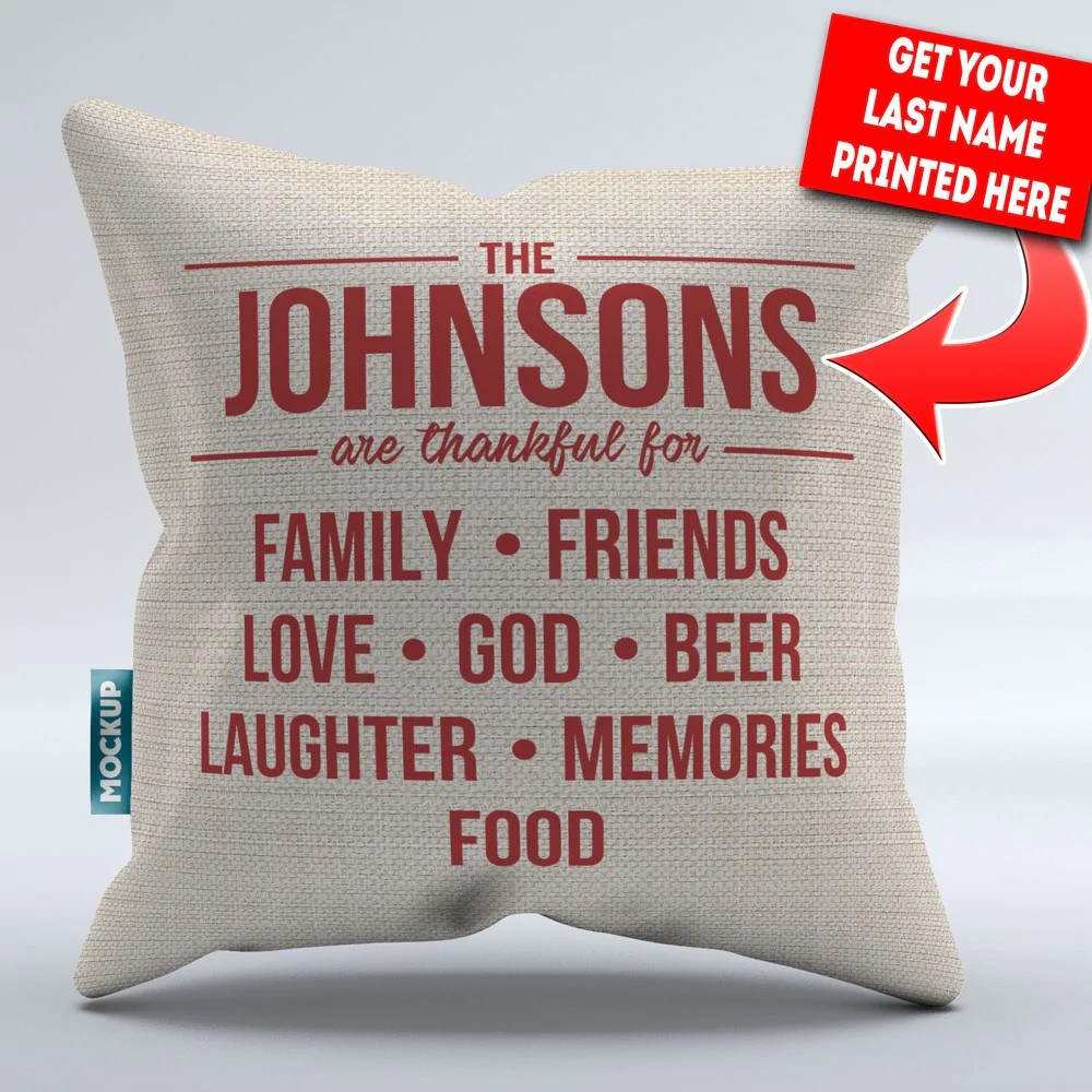 personalized thankful family throw pillow cover 18 x 18