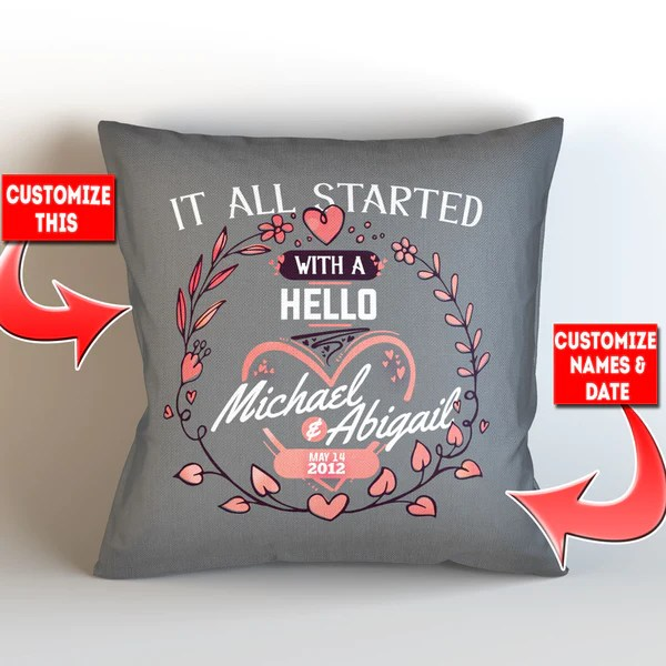 personalized it all started at pillow cover style 2 18 x 18 mostly pillows