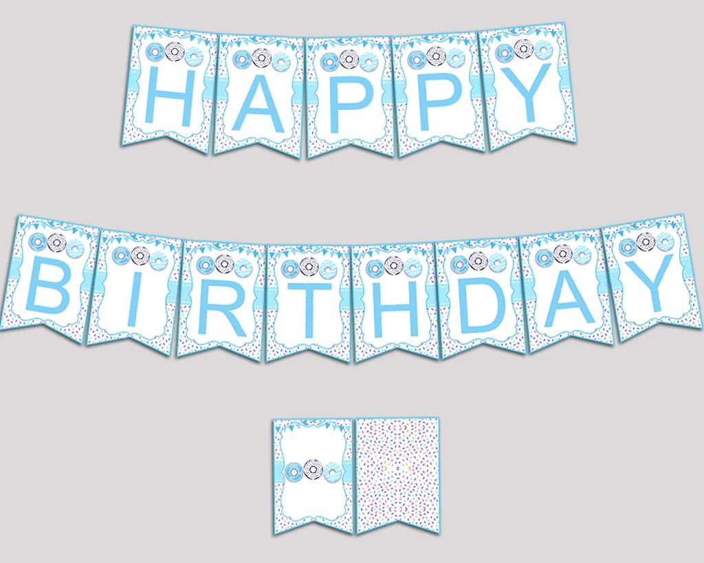 Donut Birthday Banner Donut Birthday Party Banner Blue White Happy Bir Studio 118