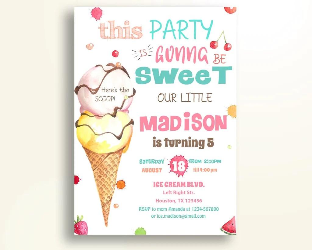 ice cream birthday invitation ice cream