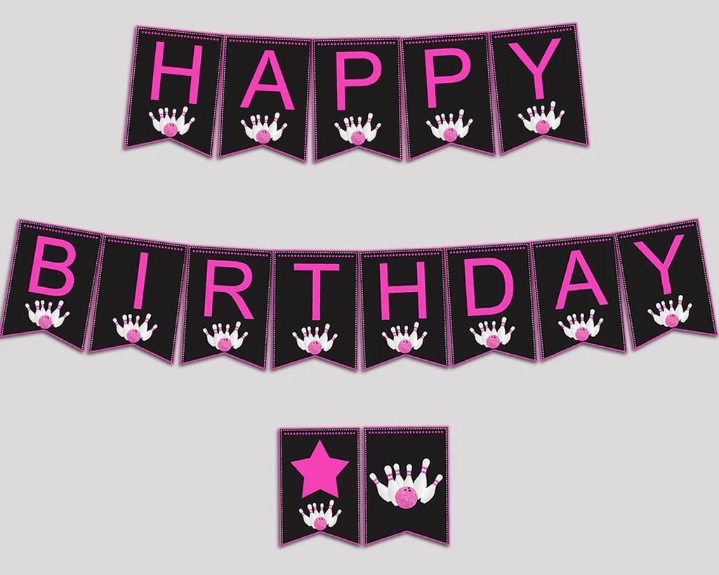 Bowling Happy Birthday Banner Bowling Birthday Party Banner Printabl Studio 118