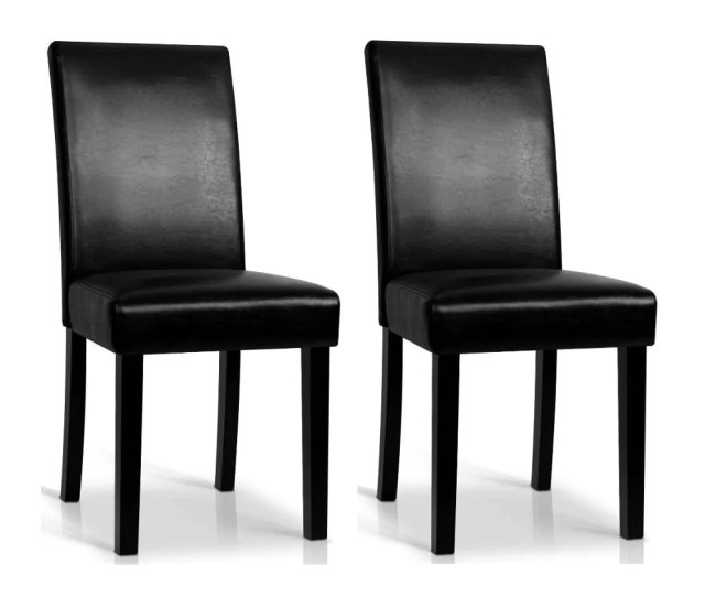 Rushing Dining Chair Set Of 2 Pu Leather Black