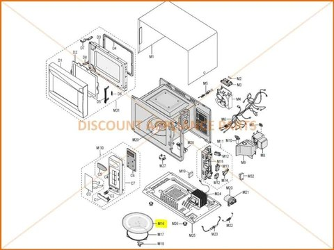 samsung microwave cooking tray part de74 20015g