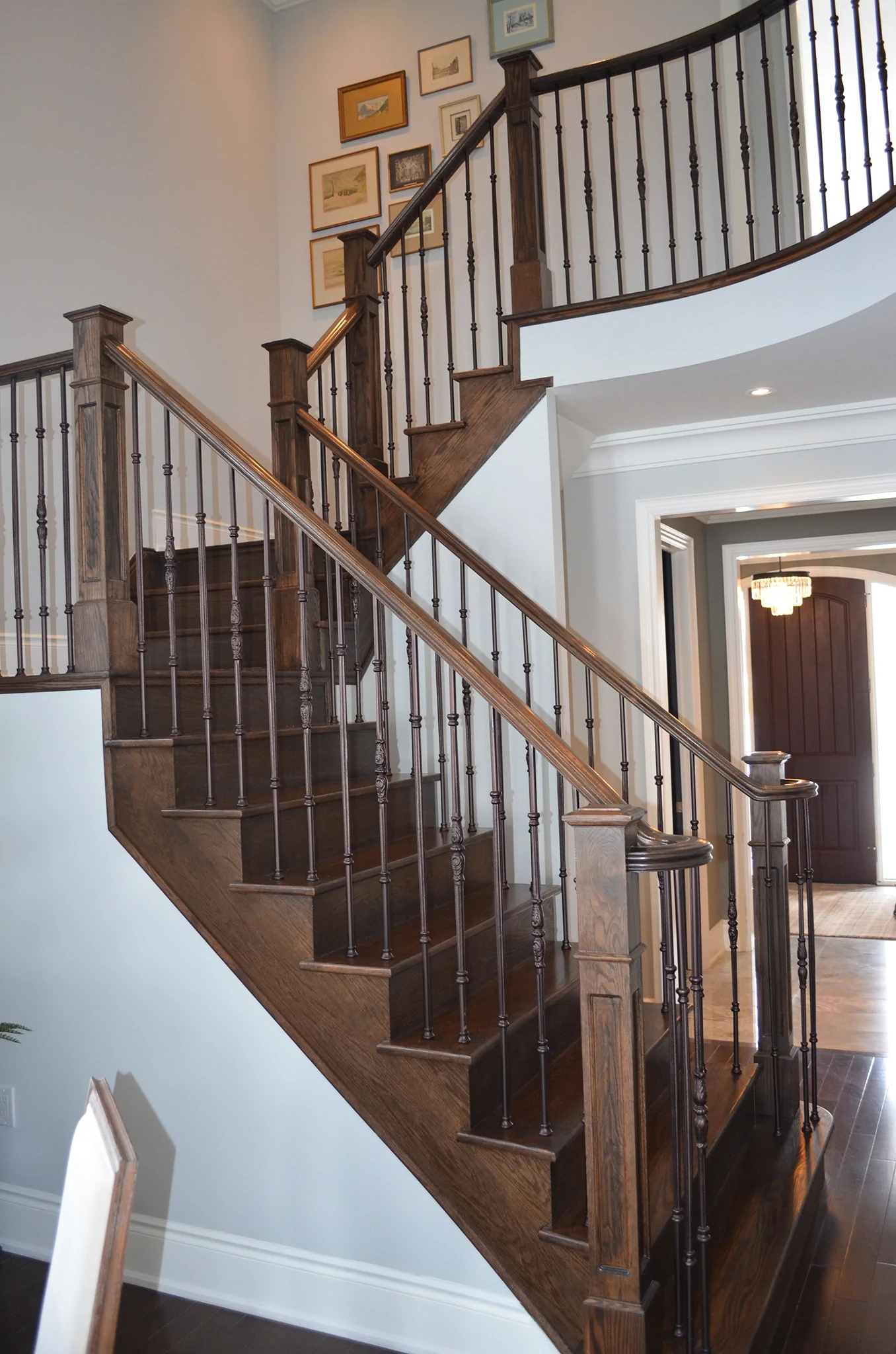 Stairs Railings Ideal Railings Wrought Iron And Dark Wood | Wrought Iron And Wood Stair Railing | C Shaped | Banister | Elegant | Geometric | Design Iron