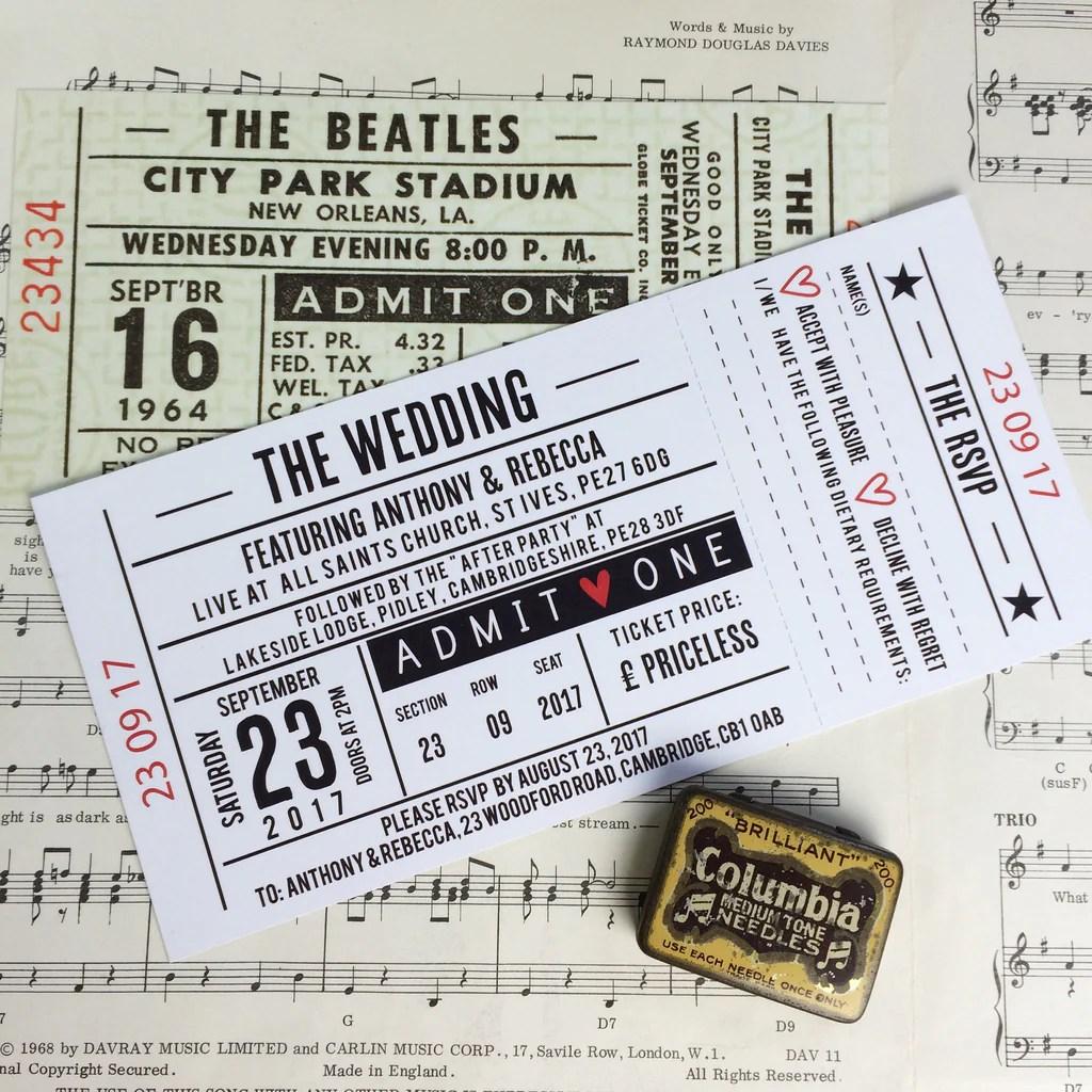 gig concert ticket inspired wedding invitations design 1
