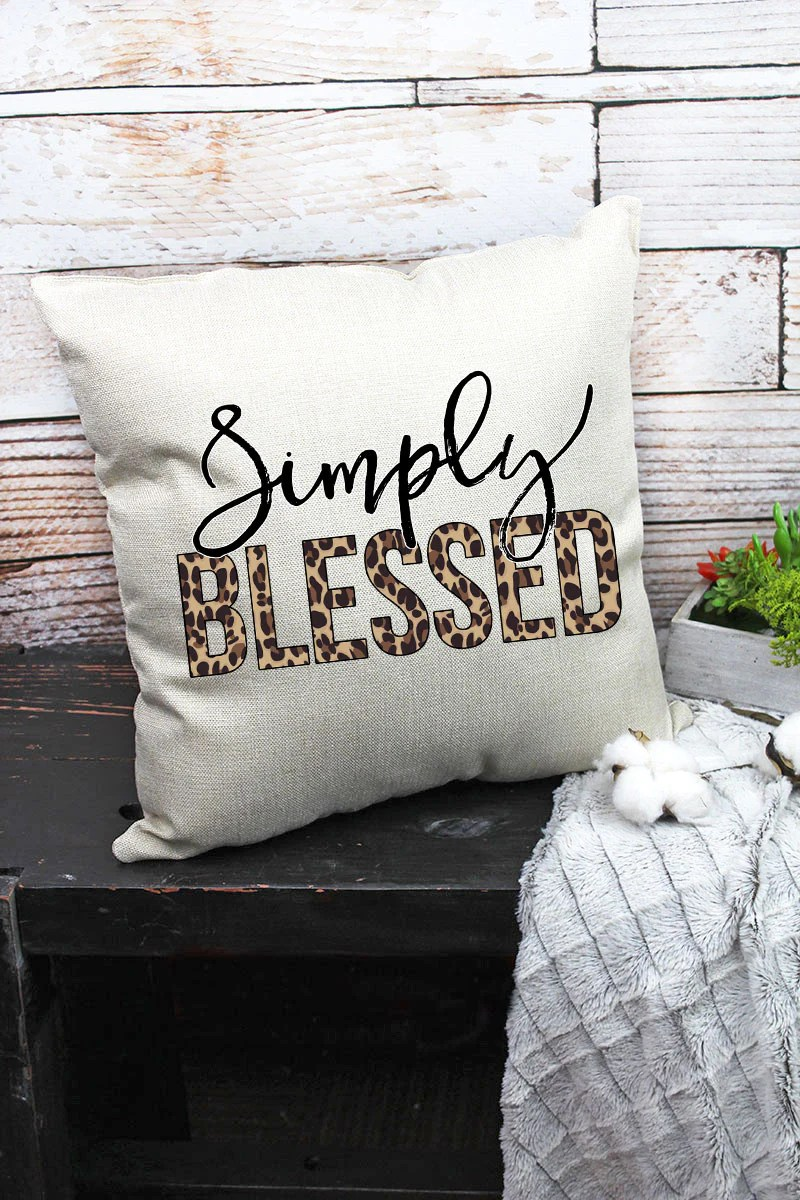 simply blessed leopard decorative pillow cover