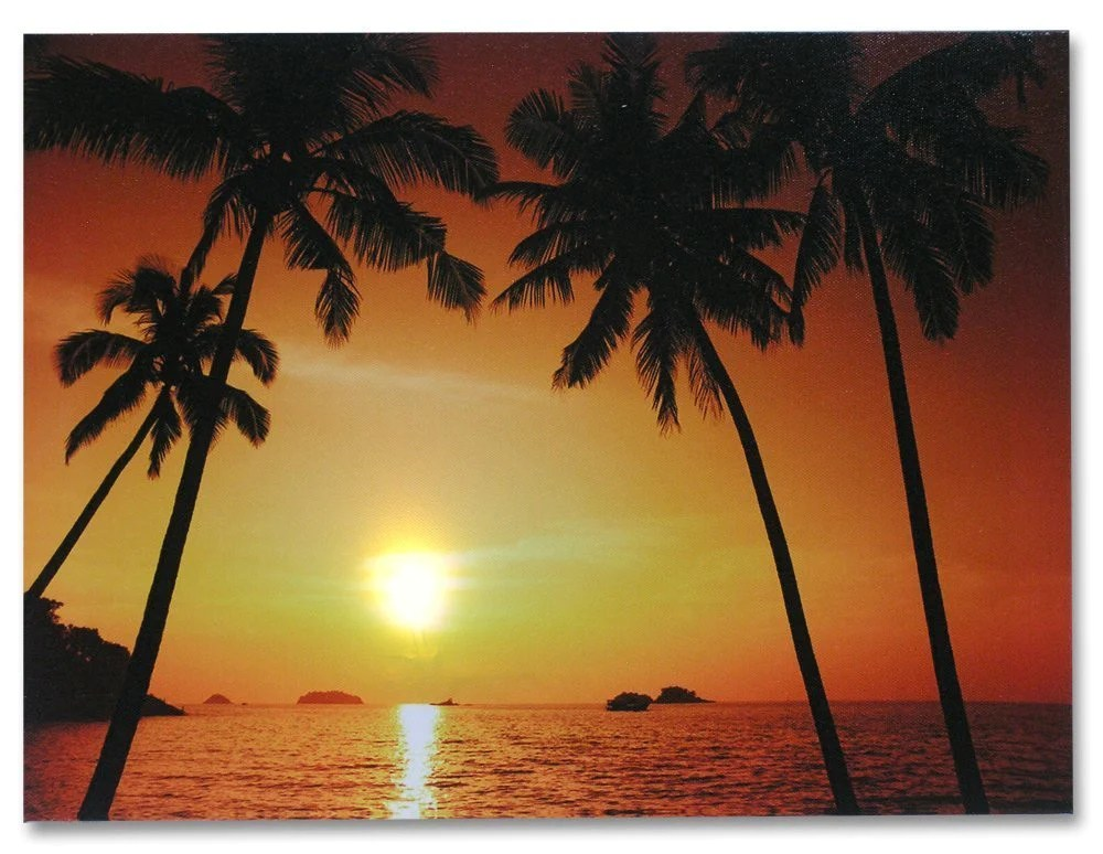 LED Canvas Print Of A Tropical Ocean Sunset