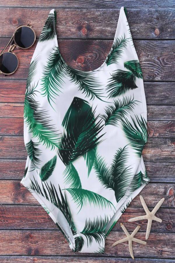 Floralkini White Leaf Print Backless Monokini