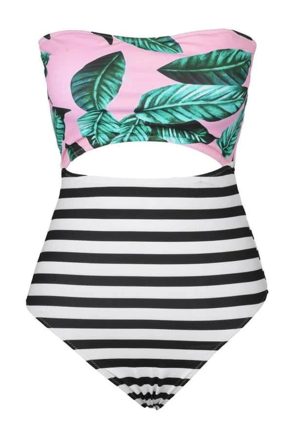 Floralkini Tropical Leaf Print Cutout Strapless One Piece Swimsuit