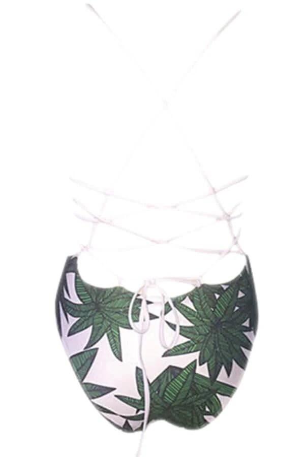 Floralkini One Piece Leaves Printed Bikini Swimwear Bathing Suit